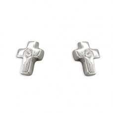 Small Silver Cross Earrings With Central Cubic Zirconia