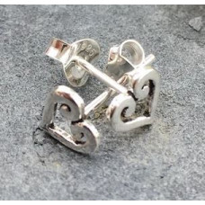 Silver Heart Scroll Earrings