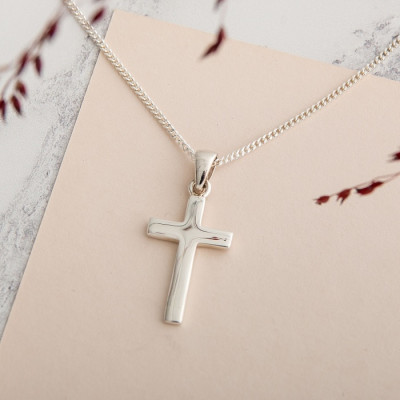 Simple Solid Silver Cross Necklace