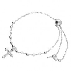 Silver Slider Cross Bracelet