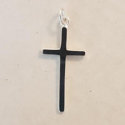 Slim Medium Silver Cross Necklace