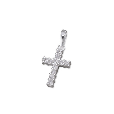 Small Cross Necklace with Inset Cubic Zirconia