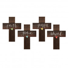 Wooden Calligraphy Mini Cross Blessed