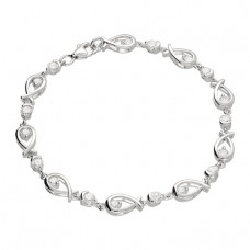Sterling Silver Bracelet With Ichthus Fish Love Knots