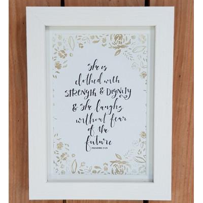 She Is Clothed With Strength & Dignity Framed Print
