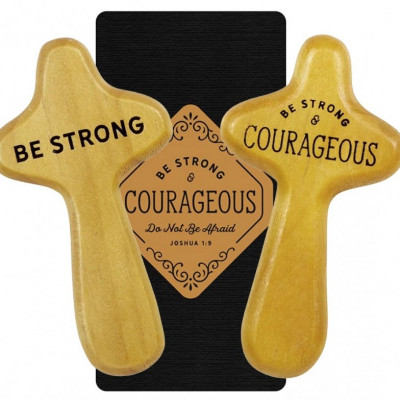 Strong And Courageous Holding Cross And Card