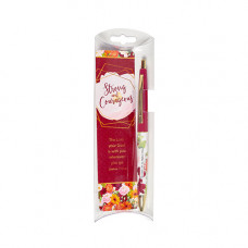 Strong And Courageous Floral Pen And Bookmark Set