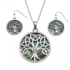 Celtic Tree Of Life Paua Shell Necklace and Earrings Set