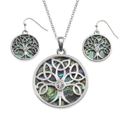 Celtic Tree Of Life Paua Shell Necklace and Earrings Set