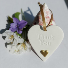 Ceramic Heart With Gold Heart Thank You