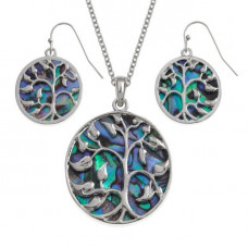Paua Shell Tree Of Life Leaves Necklace And Earrings Set