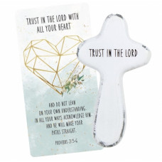 Trust In The Lord Holding Cross and Card
