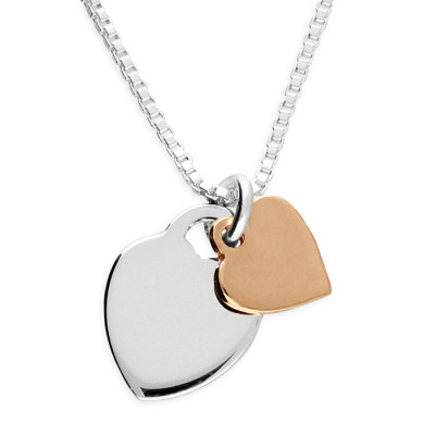 Double Heart Necklace With Rose Gold Plated Heart