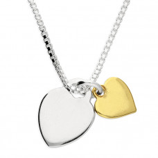 Double Heart Necklace With Yellow Gold Plated Heart