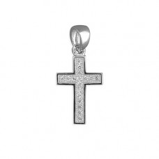 Very Small Pave CZ Cross Necklace