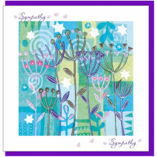 With Sympathy Card Blue Flowers - No Bible Verse