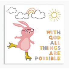 With God Rabbit Nursery Framed Print