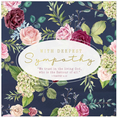 With Deepest Sympathy Navy Rose Card