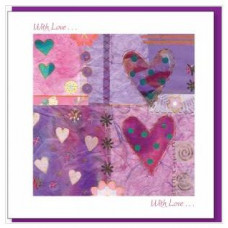 With Love Greetings Card Purple Hearts