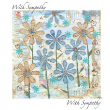 With Sympathy Greetings Card Teal Flowers