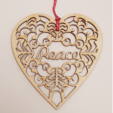 Wooden Hanging Laser Cut Heart Peace