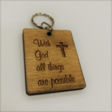 Wooden Keyring With God All Things Are Possible