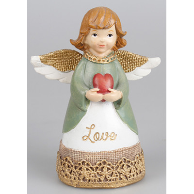 Message Angel Love With Red Heart