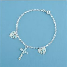 Metal Cross and Heart Bracelet