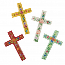 Painted Floral Wall Cross