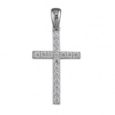 Silver Cross With CZ Necklace
