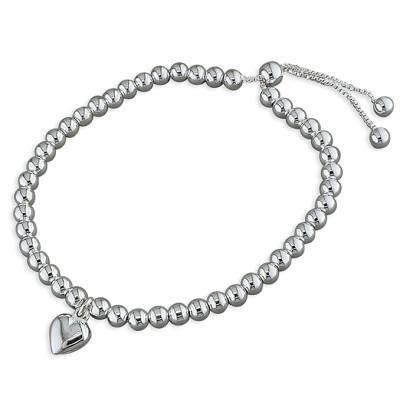 Silver Slider Bracelet With Heart Charm
